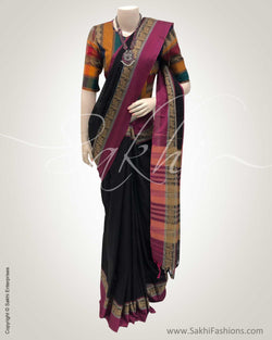 DPS-2470 - Black pure Cotton saree