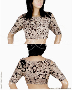 DQBL-0532 - Black & Beige Silk & Cotton Blouse