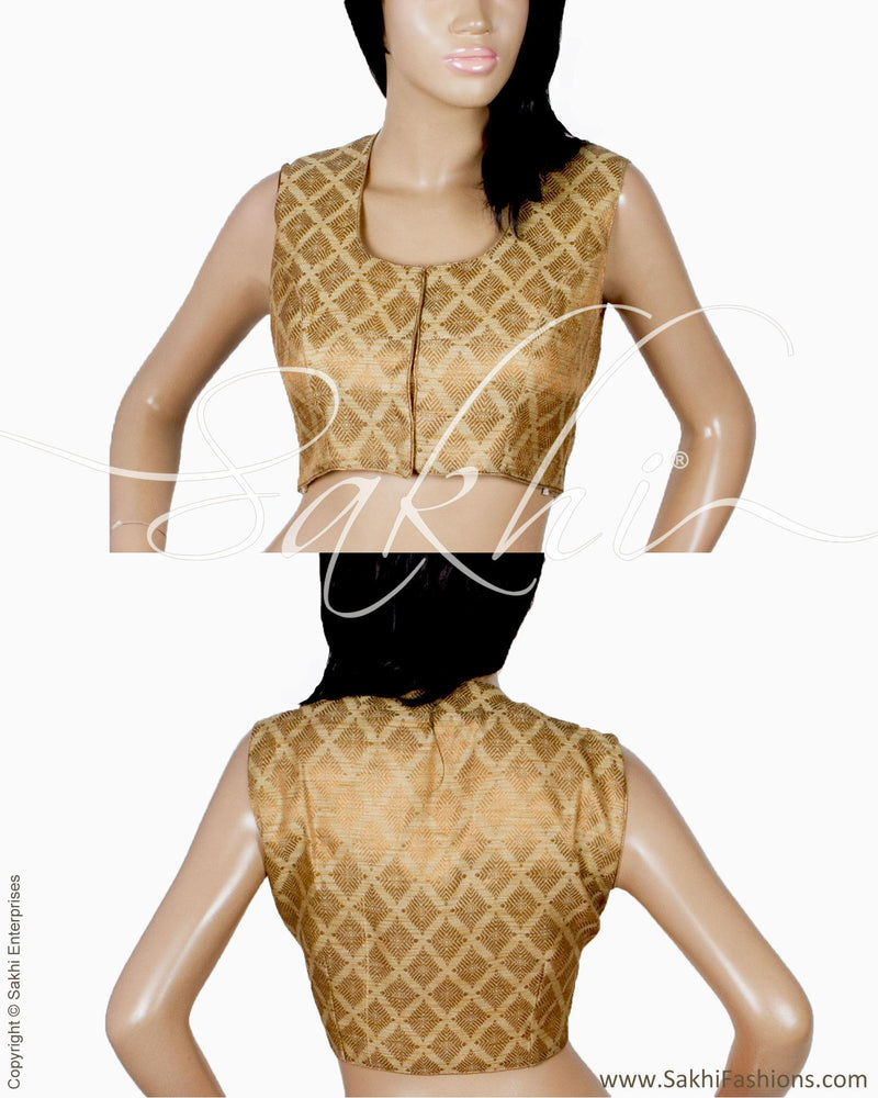 DQBL-20973 - Beige & Gold Pure Silk Blouse