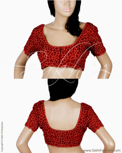 RTQ-21025 - Maroon & Red Pure Silk Blouse
