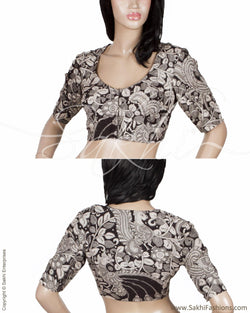 RTQ-21034 - Black & Grey Pure Silk Blouse
