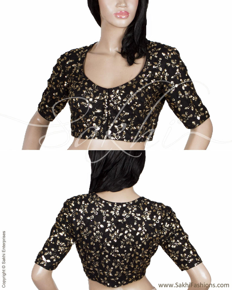 RTQ-21035 - Black & Gold Pure Silk Blouse