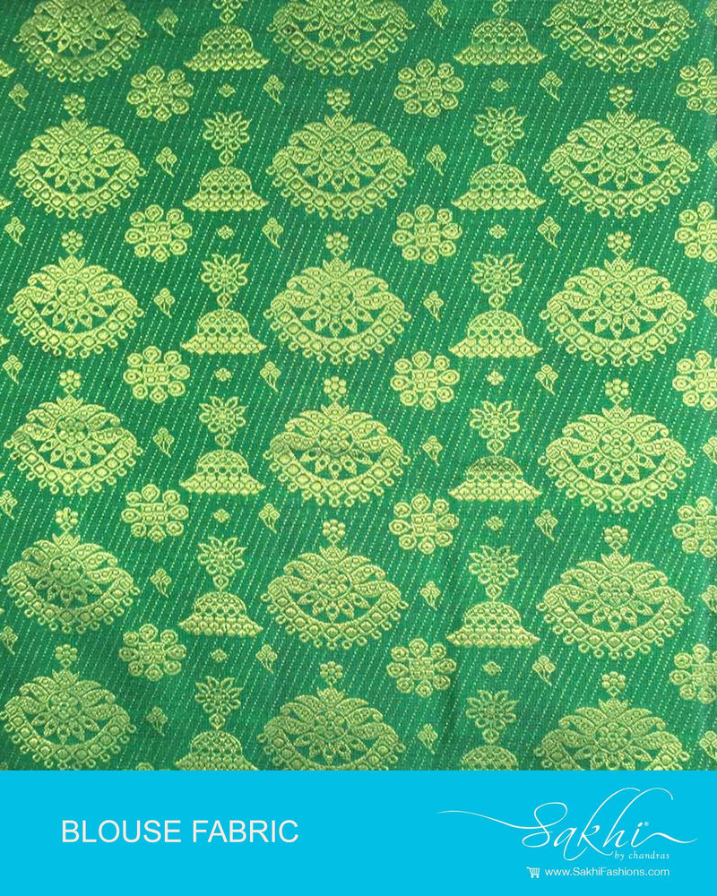 DQBL-7985 - Green & Gold Pure Kanchivaram Silk Blouse Fabric