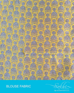 DQBL-7990 - Yellow & Gold Pure Silk Blouse Fabric