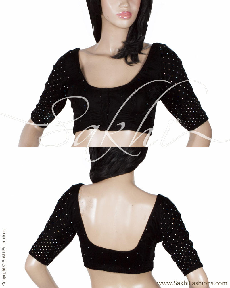 DQBL-9808 - Black & White Pure Velvet Blouse