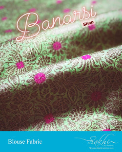 DRBL-13955 - Green &  Banaras Silk Fabric