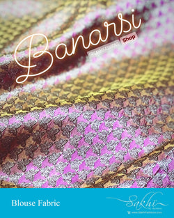 DRBL-13959 - Peach &  Banarsi Silk Fabric