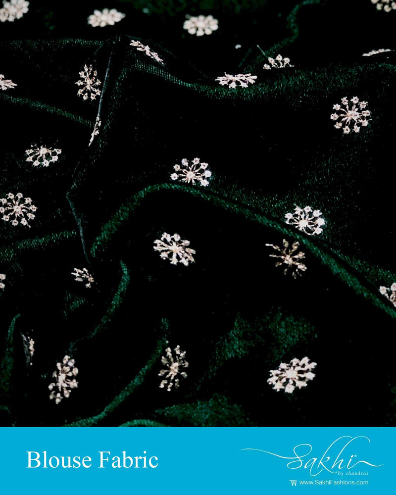 DRBL-22963 - Bottle Green &  Pure Velvet Blouse Fabric
