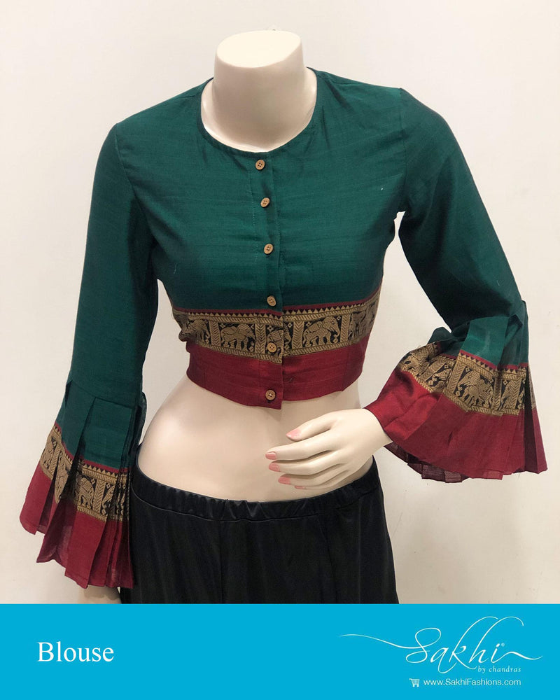DRBS-14200 - Green &  Pure Cotton Blouse
