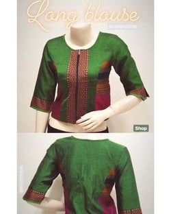 DSBL-11635 - Green &  Pure Cotton  Blouse