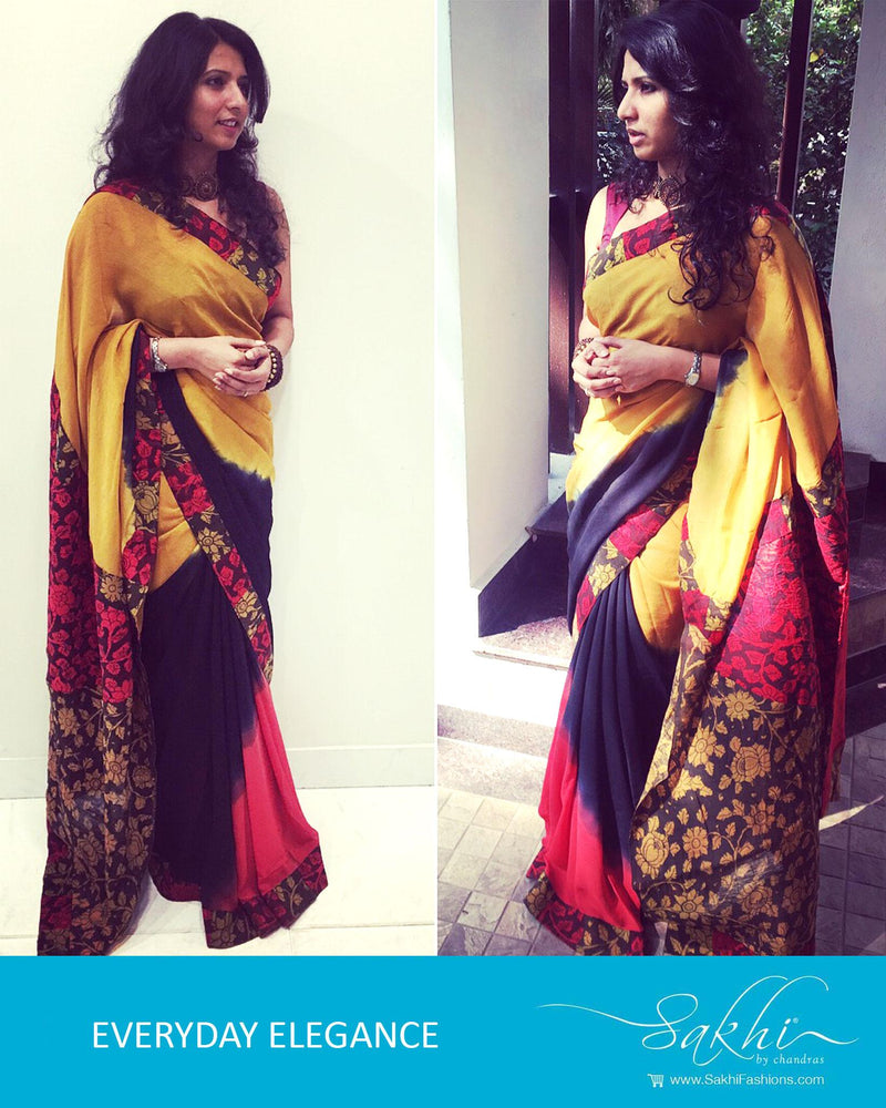 EE-P101 - Multi & Yellow Pure Chiffon Silk Saree