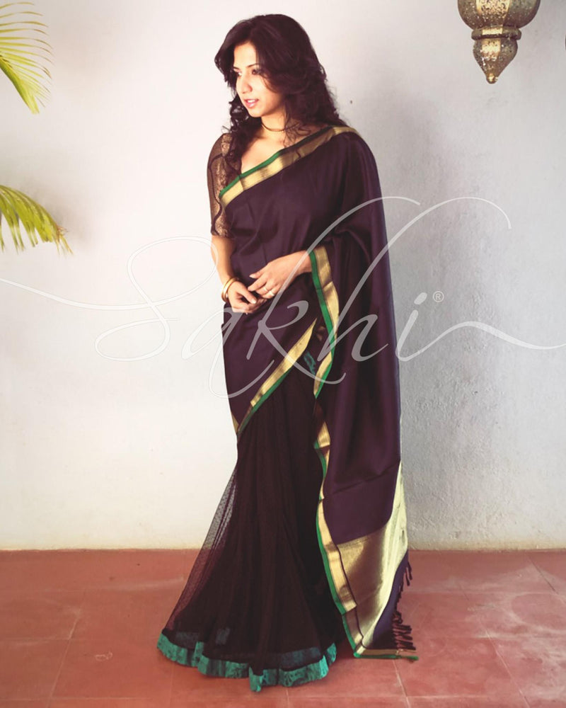 EE-P12429 - Black &  Pure Kanchivaram  Silk Saree