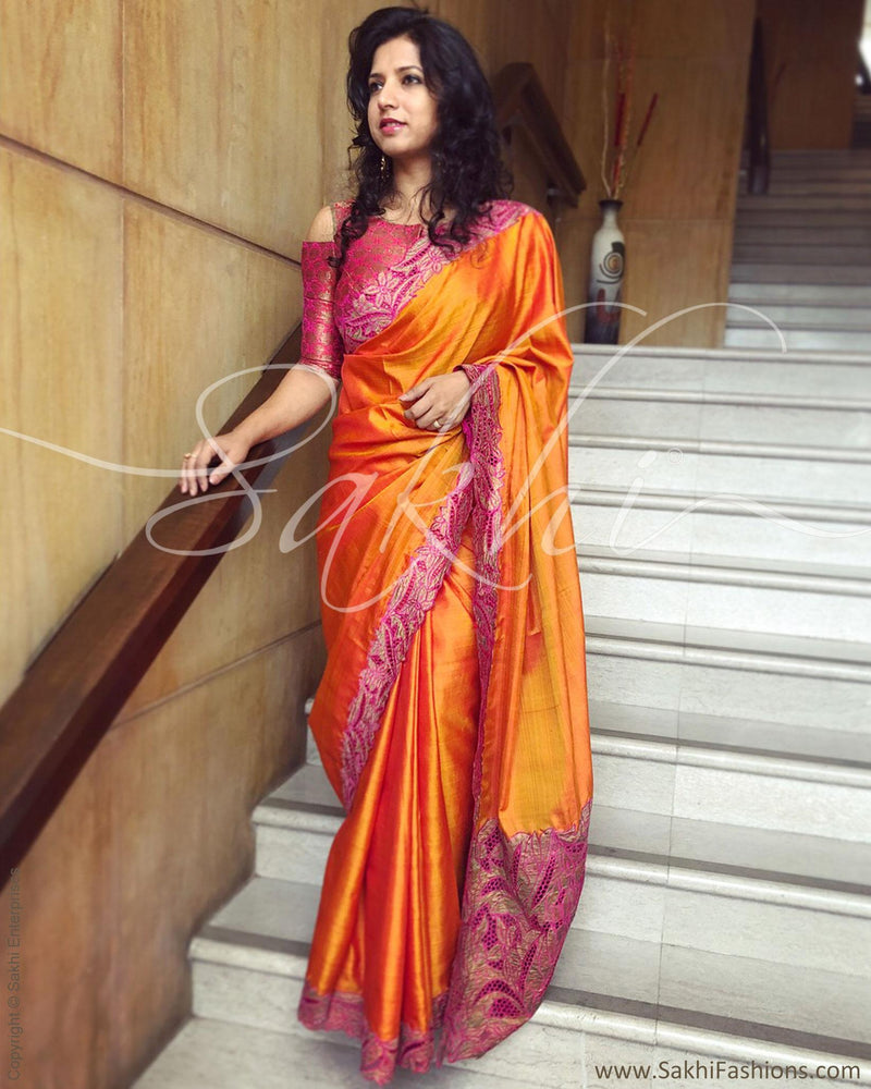 EE-Q19206 - Mustard & Pink Pure Kanchivaram Silk Saree
