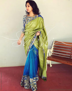 EE-Q21526 - Blue & Green Pure Tussar Silk Saree