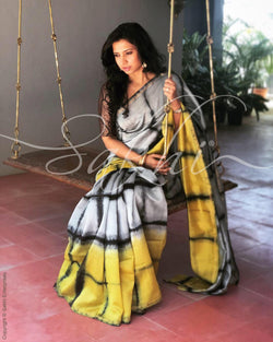 EE-R0206 - Grey & yellow Chanderi saree