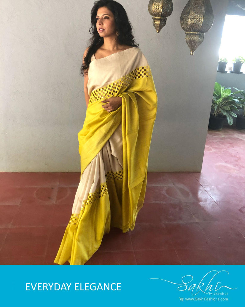 EE-R0816 - Beige & Yellow Pure Tussar Silk Saree