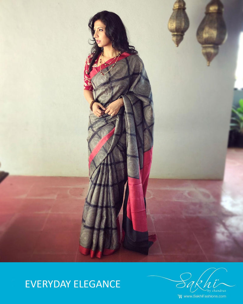 EE-R0835 - Black & Red Pure Tussar Silk Saree