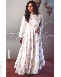 EE-R1218 - White & Gold  Cotton  Readymade Dress