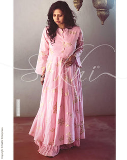 EE-R1220 - Pink & Gold  Cotton  Readymade Dress