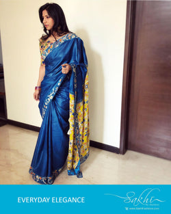 EE-R1238 - Blue & Yellow Pure Tussar Silk Saree
