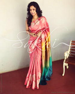 EE-R12532 - Peach & Multi Pure Tussar Silk Saree