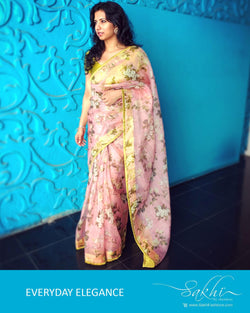 EE-R1303 - Pink & Yellow pure Organza silk saree- CV