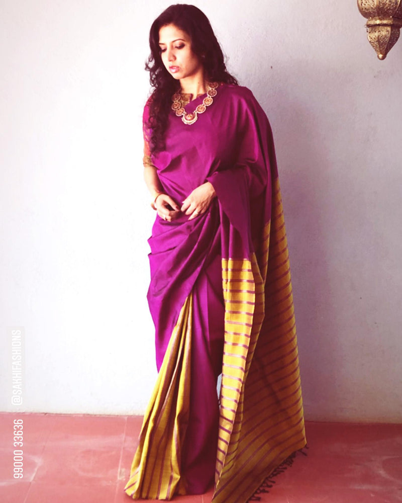 EE-R13513 - Purple & Mustard Pure Kanchivaram Silk Saree