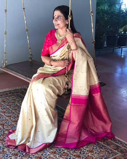 EE-R1356 - Cream pure Kanchivaram Silk  Saree