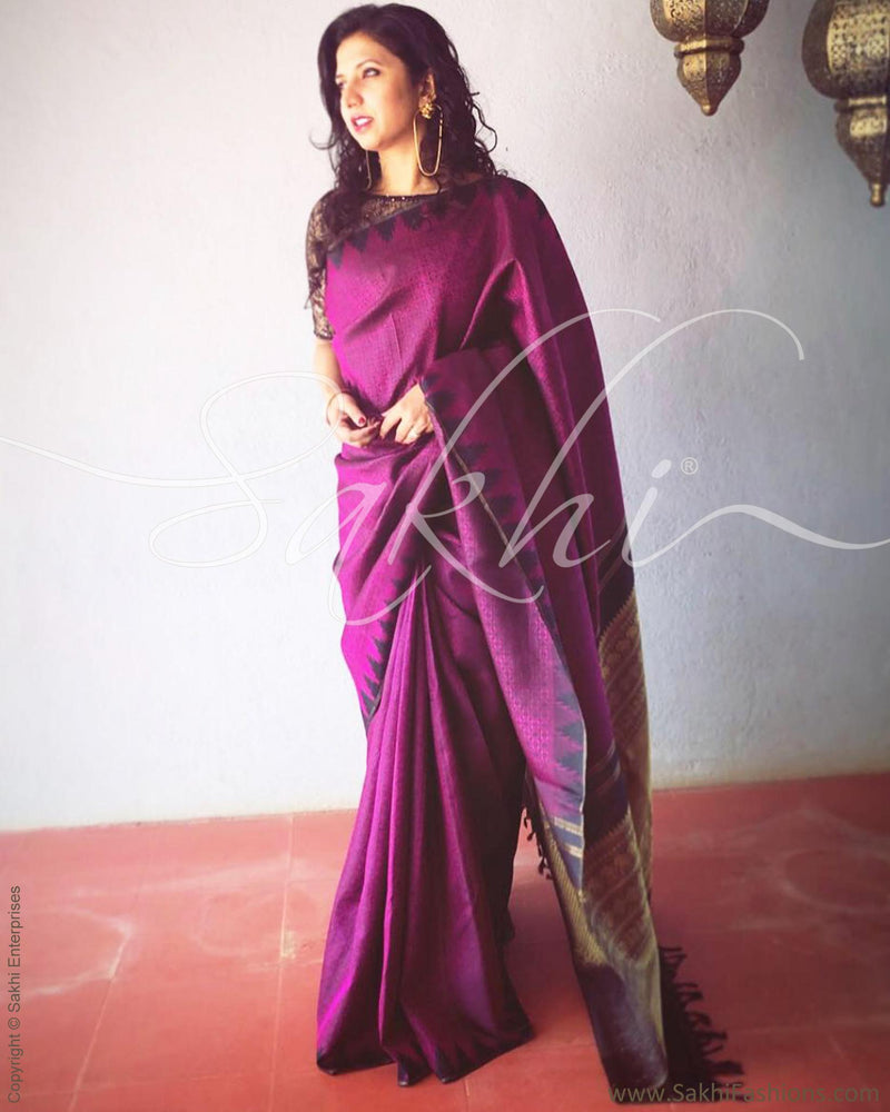 EE-R13607 - Purple & Black Pure Kanchivaram Silk Saree