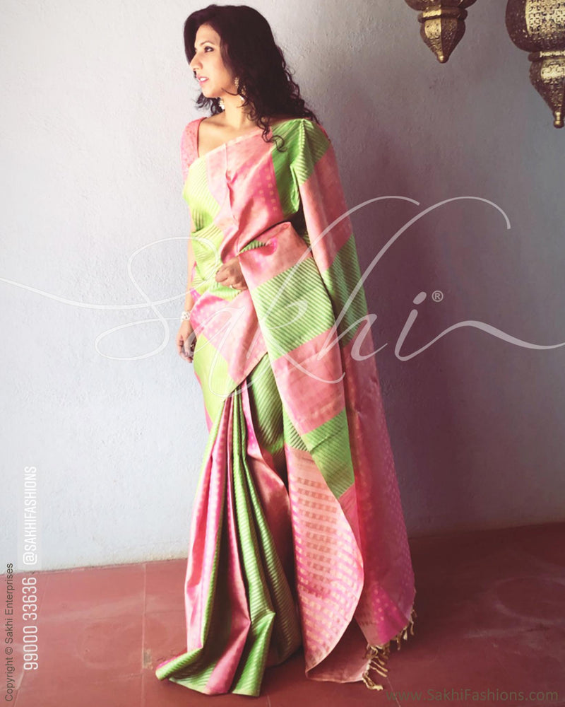 EE-R13647 - Peach & multi pure Kanchivaram silk saree