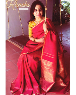 EE-R13700 - Red & Gold Pure Kanchivaram Silk Saree