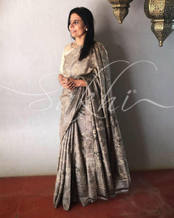 EE-R19708 - Grey & Multi Pure Tussar Silk Saree