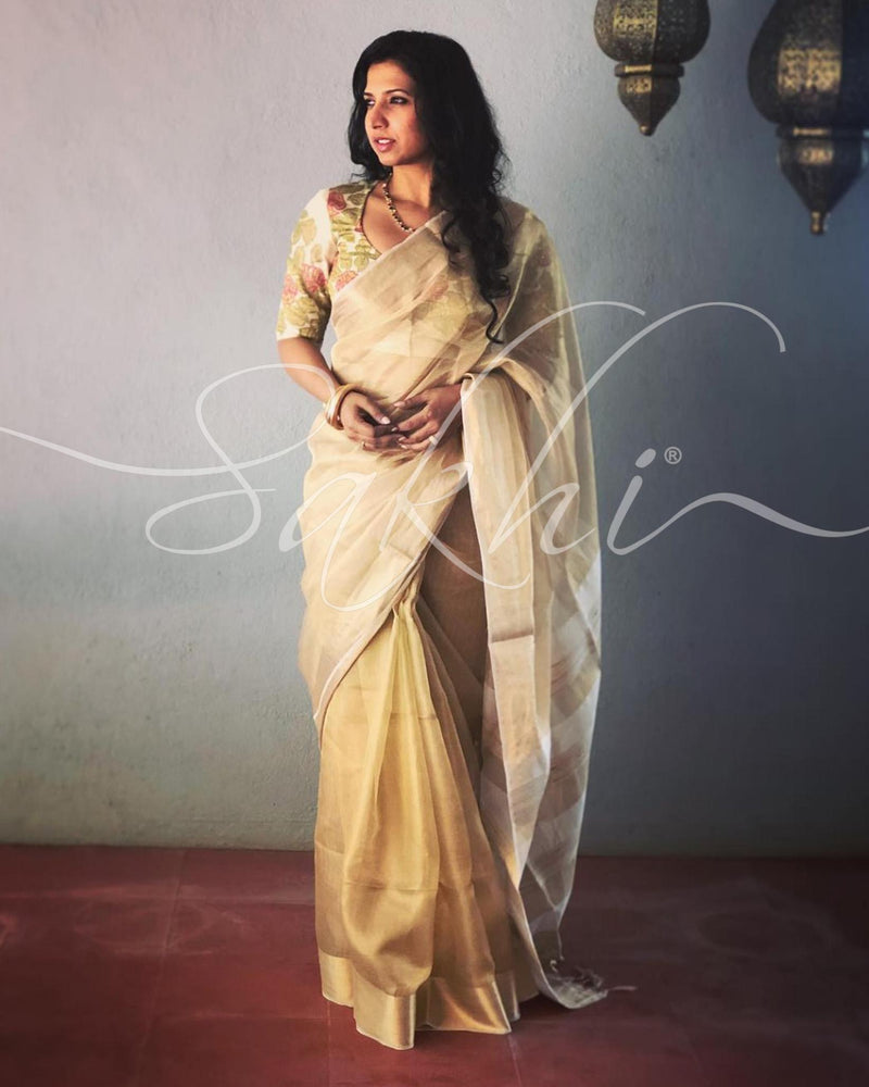 EE-R20602 - Gold & white Tissue Kota saree