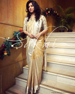 EE-R21227 - Gold & Silver Tissue Saree