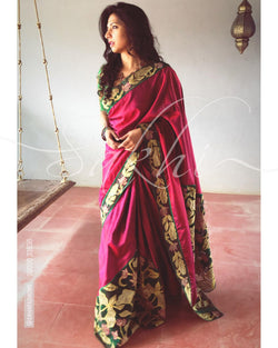 EE-R21303 - Maroon & multi pure Kanchivaram silk saree