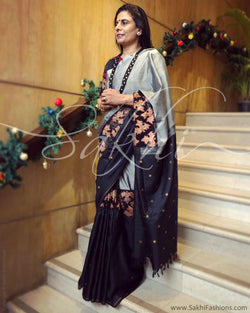 EE-R22050 - Grey & black pure Kanchivaram silk saree