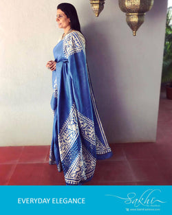 EE-R22583 - Blue & beige Tussar silk Cutwork saree