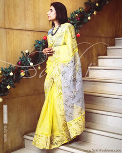EE-R22980 -  Yellow & grey pure Organza silk saree