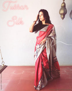 EE-R23154 - Red & Multi PureTussar Silk Saree