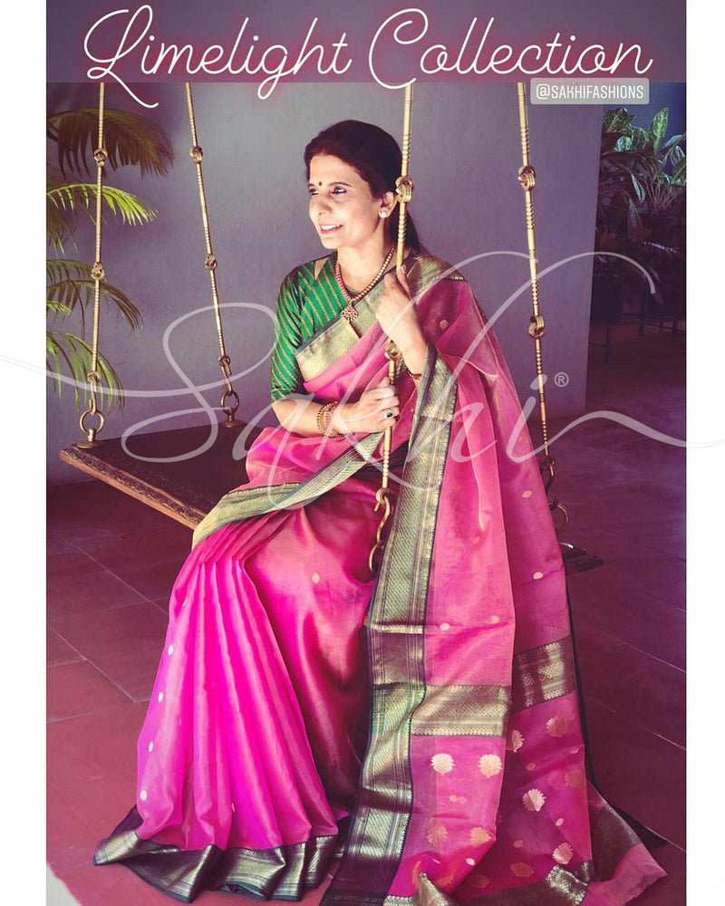 EE-R23698 - Pink &  Pure Tissue Silk Saree