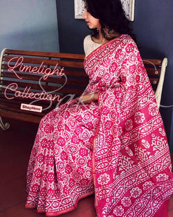 EE-R23758 - Pink &  Pure Chanderi Saree