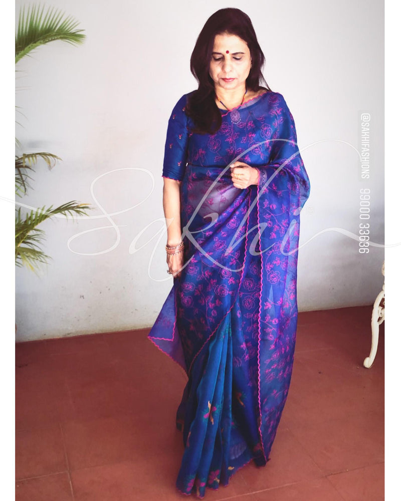 EE-R24155 - Blue &  Pure Organza Silk Saree