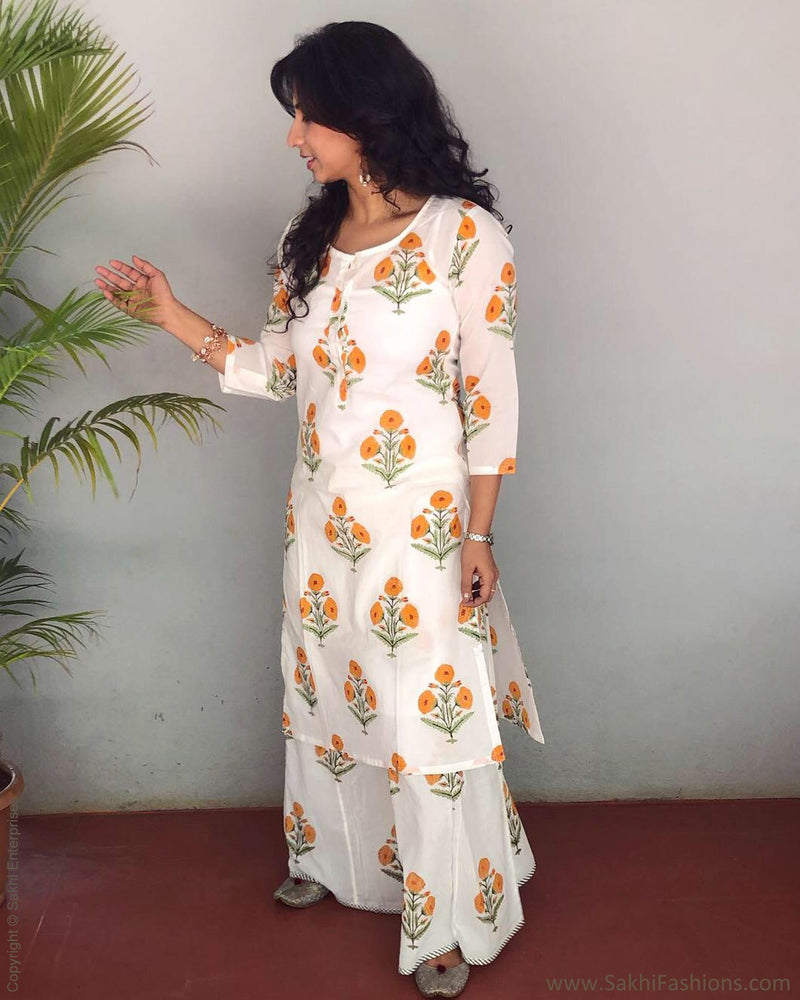 EE-R24335 - Cream &  Pure Cotton Dress