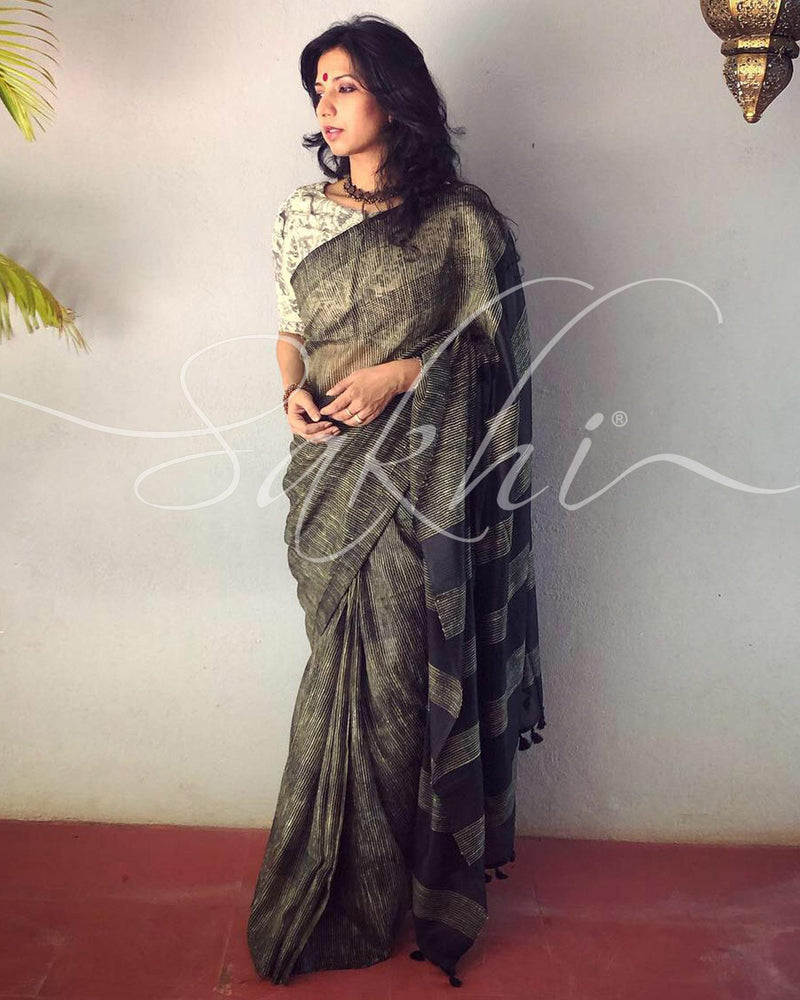 EE-R24773 Black Gheecha Cotton Sari
