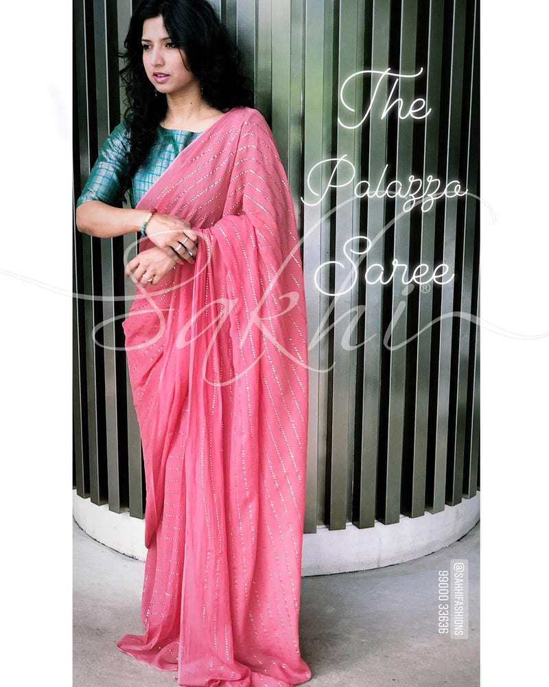EE-R25084 Peach Georgette saree