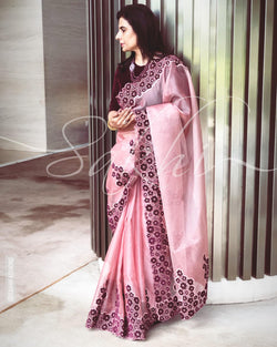 EE-R25160 - Onion Pink &  Pure Organza Silk Saree
