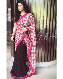 EE-R25179 - Pink &  Synthetic Lace Saree