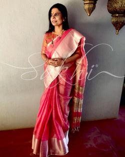 EE-R25632 - Peach pure Tissue Kota saree