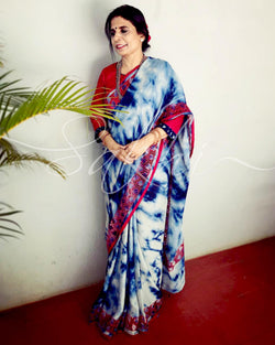 EE-R26409 - Indio Blue &  Crepe Silk Saree