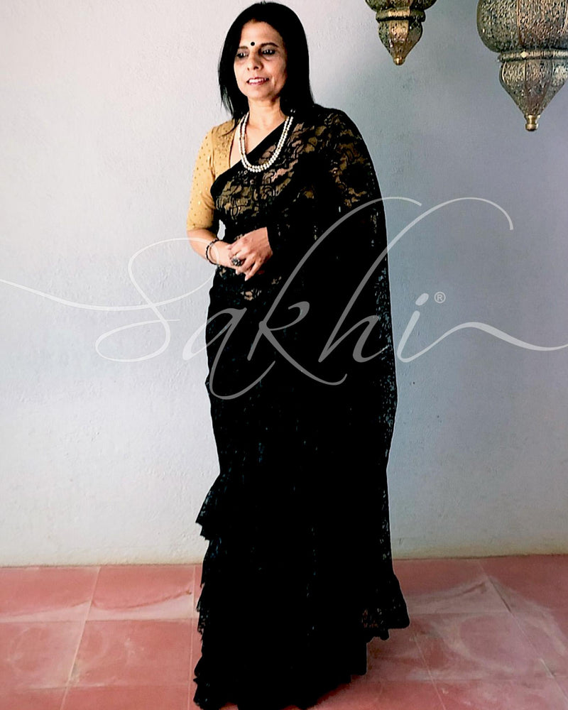 EE-R26533 - Black french Lace saree